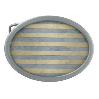 Gold and Grey Stripes Pattern Oval Belt Buckles