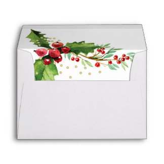 Gold and Holly Lined Envelope Christmas