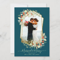 Gold and Holly Married & Merry | Geometric Photo Holiday Card