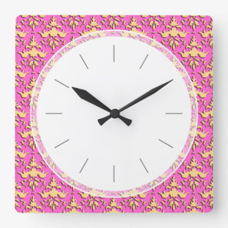 Gold and Hot Pink Embossed Hipster Chic Square Wall Clock