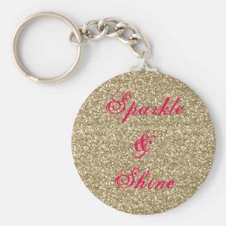 Gold and Hot Pink Glitter Sparkle and Shine Keychain