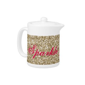 Gold and Hot Pink Glitter Sparkle and Shine Teapot