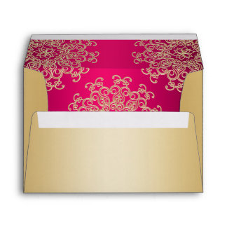 Gold and Hot Pink Indian Style Envelope