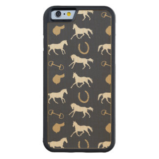Gold and Ivory English Horses Pattern Carved Maple iPhone 6 Bumper Case