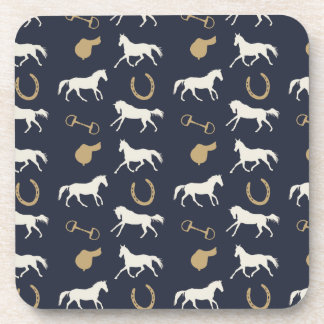 Gold and Ivory English Horses Pattern Beverage Coasters
