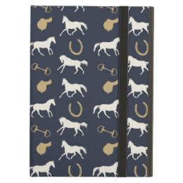 Gold and Ivory English Horses Pattern Cover For iPad Air