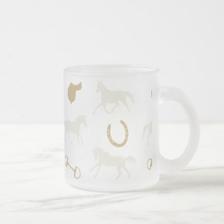 Gold and Ivory English Horses Pattern Frosted Glass Coffee Mug