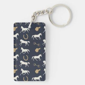 Gold and Ivory English Horses Pattern Rectangular Acrylic Key Chain