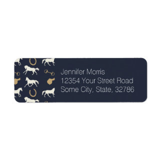 Gold and Ivory English Horses Pattern Labels