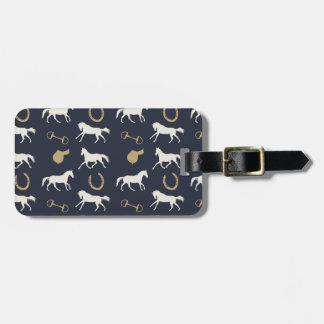 Gold and Ivory English Horses Pattern Luggage Tag