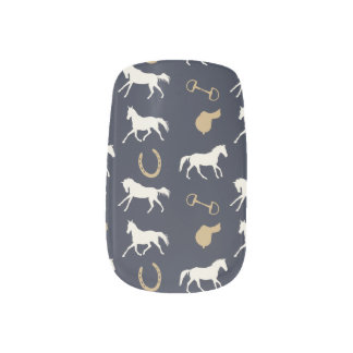 Gold and Ivory English Horses Pattern Minx® Nail Art