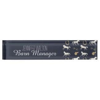Gold and Ivory English Horses Pattern Desk Nameplates