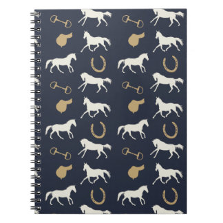 Gold and Ivory English Horses Pattern Notebooks