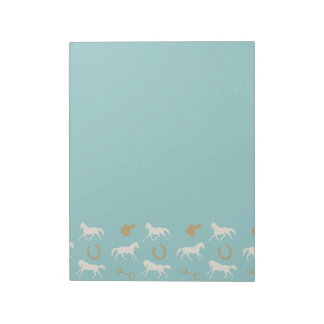 Gold and Ivory English Horses Pattern Memo Pad