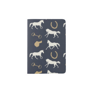 Gold and Ivory English Horses Pattern Passport Holder
