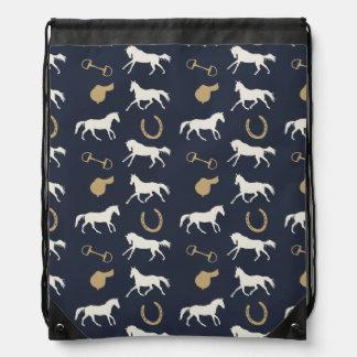 Gold and Ivory English Horses Pattern Drawstring Bag