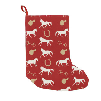 Gold and Ivory English Horses Pattern Small Christmas Stocking
