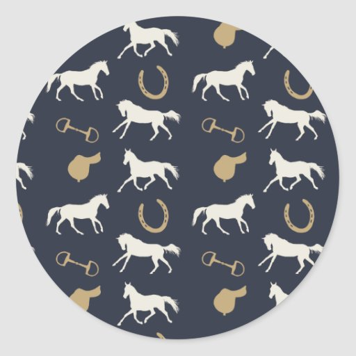 Gold and Ivory English Horses Pattern Stickers