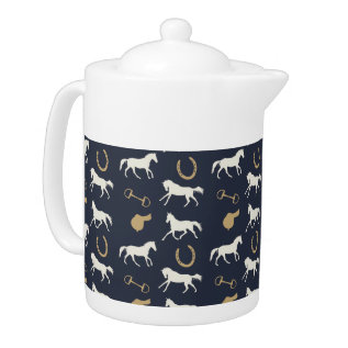 Gold And Ivory English Horses Pattern Teapot at Zazzle