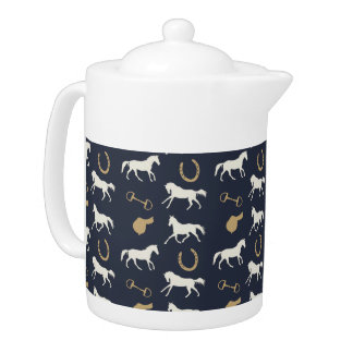 Gold and Ivory English Horses Pattern Teapot