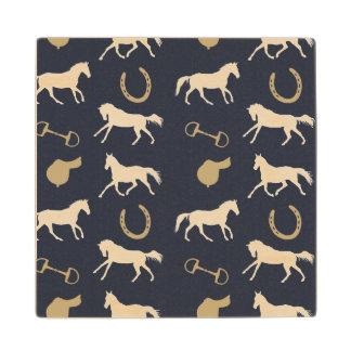 Gold and Ivory English Horses Pattern Wood Coaster