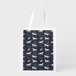 Gold and Ivory English Horses Pattern Grocery Bag