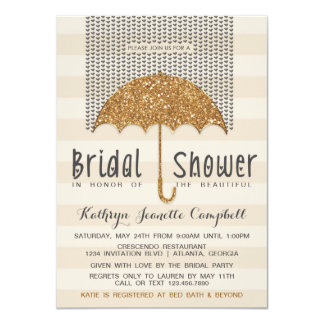 Gold and Ivory Umbrella & Hearts Bridal Shower Card