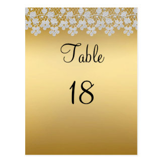 Gold And Lace Wedding Table Number Card