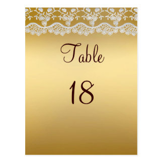 Gold And Lace Wedding Table Number Card1 Postcard