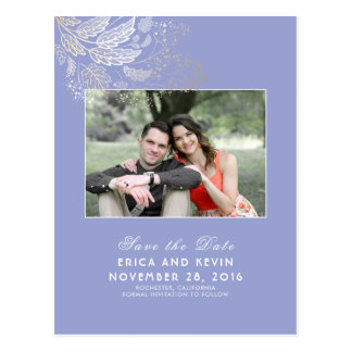 Gold and Lavender Purple Photo Save the Date Postcard