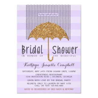 Gold and Lavender Umbrella & Hearts Bridal Shower Personalized Invitations
