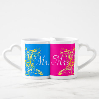 Gold and mark leaf Lovers pair cup