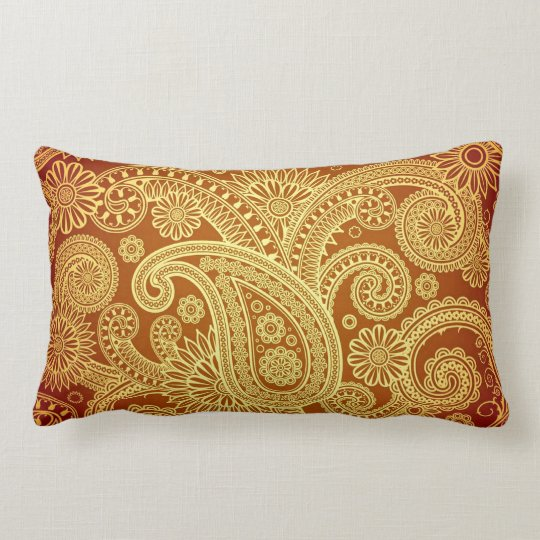 Gold And Maroon Paisley Print Throw Pillow Zazzle Com