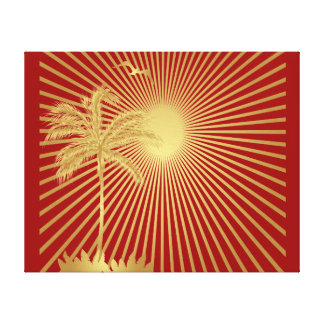 Gold and Maroon Palm Tree, Sun and Bird Canvas