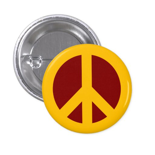 Gold and Maroon Peace Symbol Button