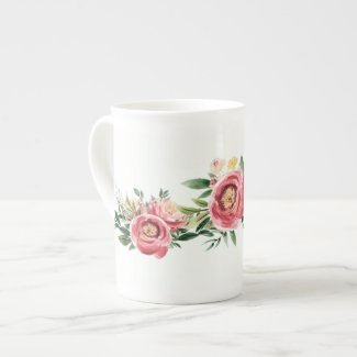 Gold and Mauve Rose Peony Trim Bone China Mug