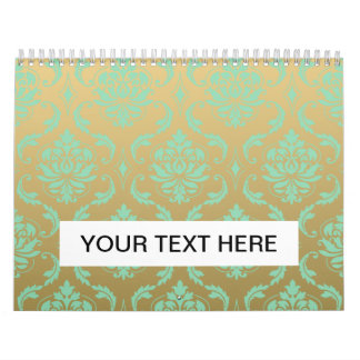 Gold and Mint Classic Damask Calendar
