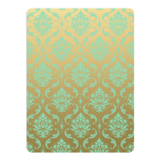 Gold and Mint Classic Damask Card