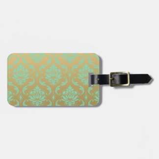 Gold and Mint Classic Damask Luggage Tag