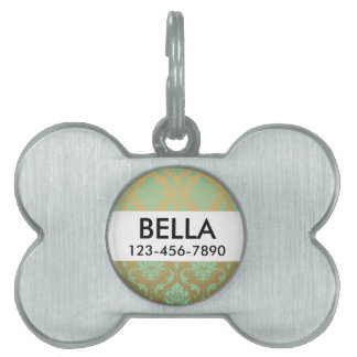 Gold and Mint Classic Damask Pet Name Tag