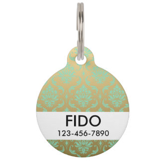 Gold and Mint Classic Damask Pet Tag