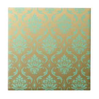 Gold and Mint Classic Damask Tile