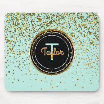 Gold and Mint Glam Confetti Dots | Green Monogram Mouse Pad
