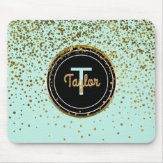 Gold And Mint Glam Confetti Dots | Green Monogram Mouse Pad at Zazzle