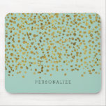 Gold and Mint Glam Confetti Mouse Pad