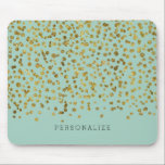 "Gold and Mint Glam Confetti Mouse Pad<br><div class=""desc"">gold and mint girly glam bling confetti you can personalize with your text</div>"