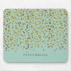 Gold And Mint Glam Confetti Mouse Pad at Zazzle