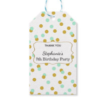 Gold and Mint Green Confetti Birthday Party Gift Tags