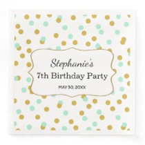 Gold and Mint Green Confetti Birthday Party Paper Dinner Napkin