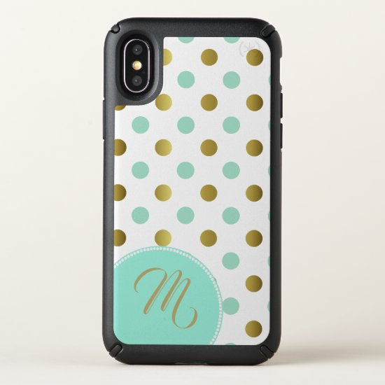 Gold and Mint Green Polka Dots iPhone X Case